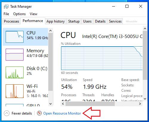 Открыть монитор ресурсов в Windows 10