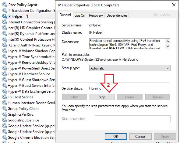 остановить ip helper, чтобы отключить iphlpsvc.exe