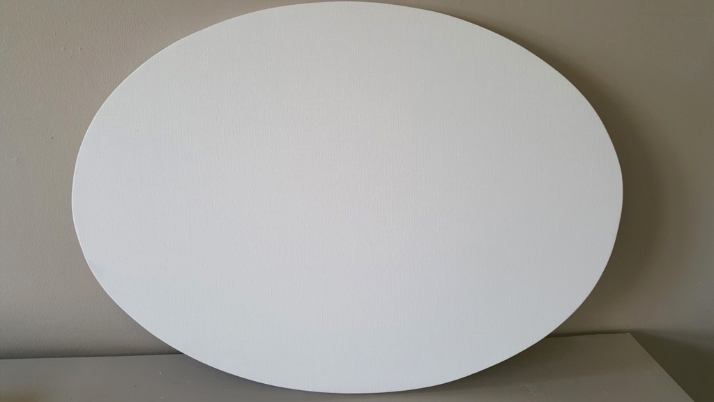 oval shaped stretched artists canvas