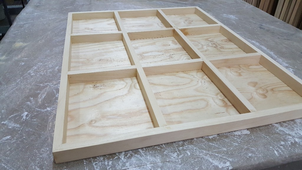 Pine Plywood back, showing cross-bars