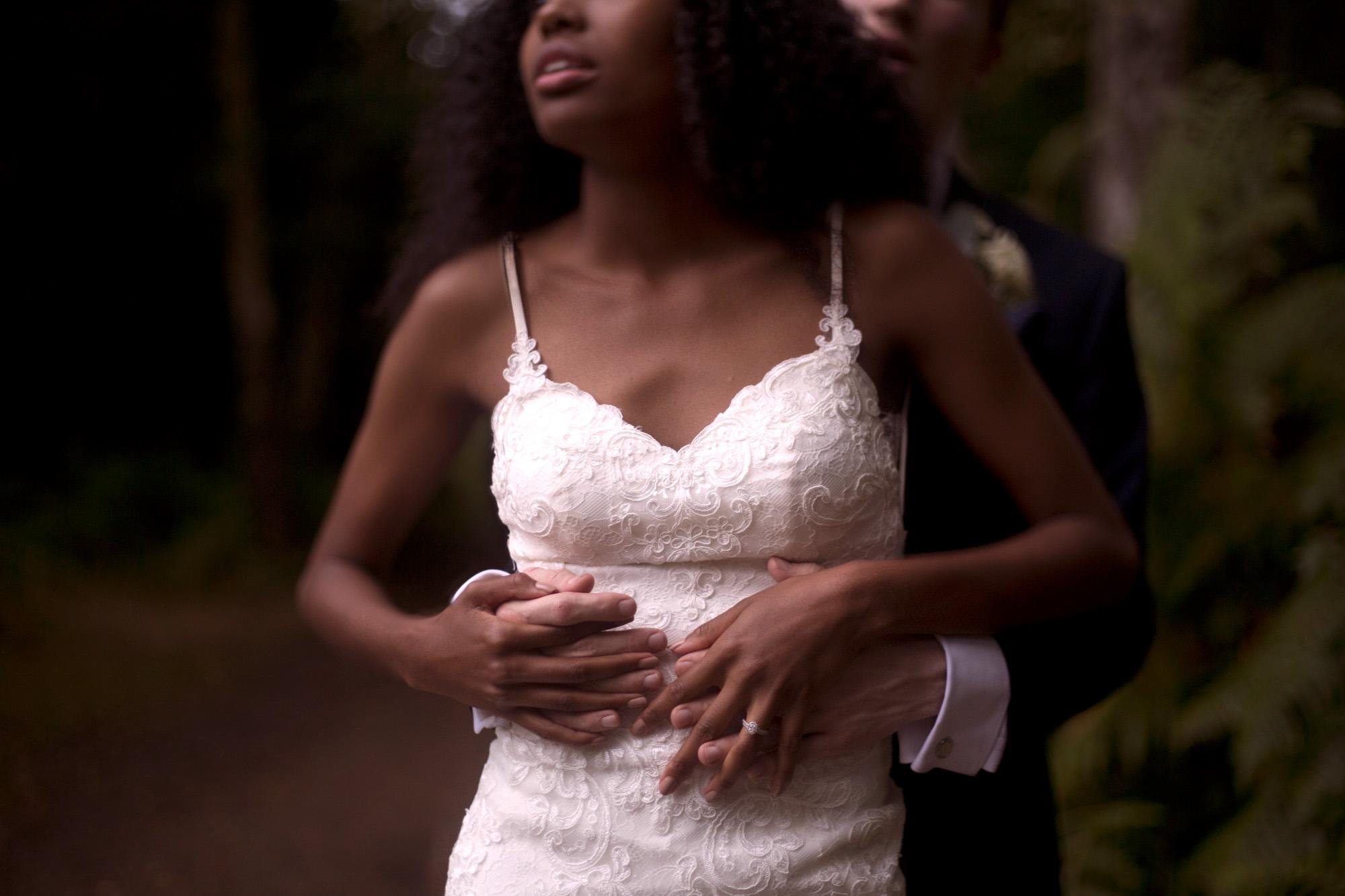 Bride and groom portrait shoot in woodland wedding photographer