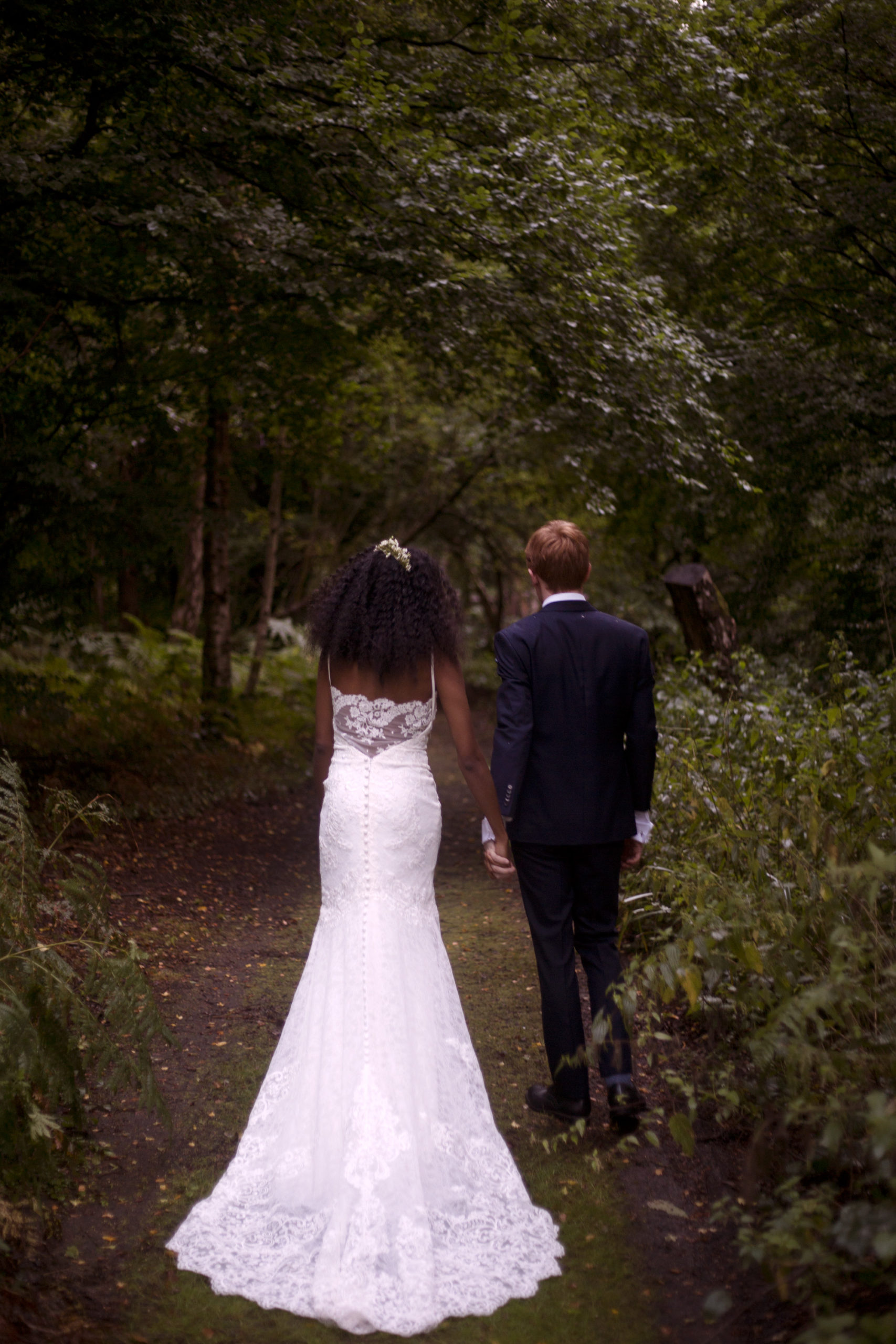 Bride in Essence of Australia wedding dress at Cuffley camp outdoor woodland wedding photographer