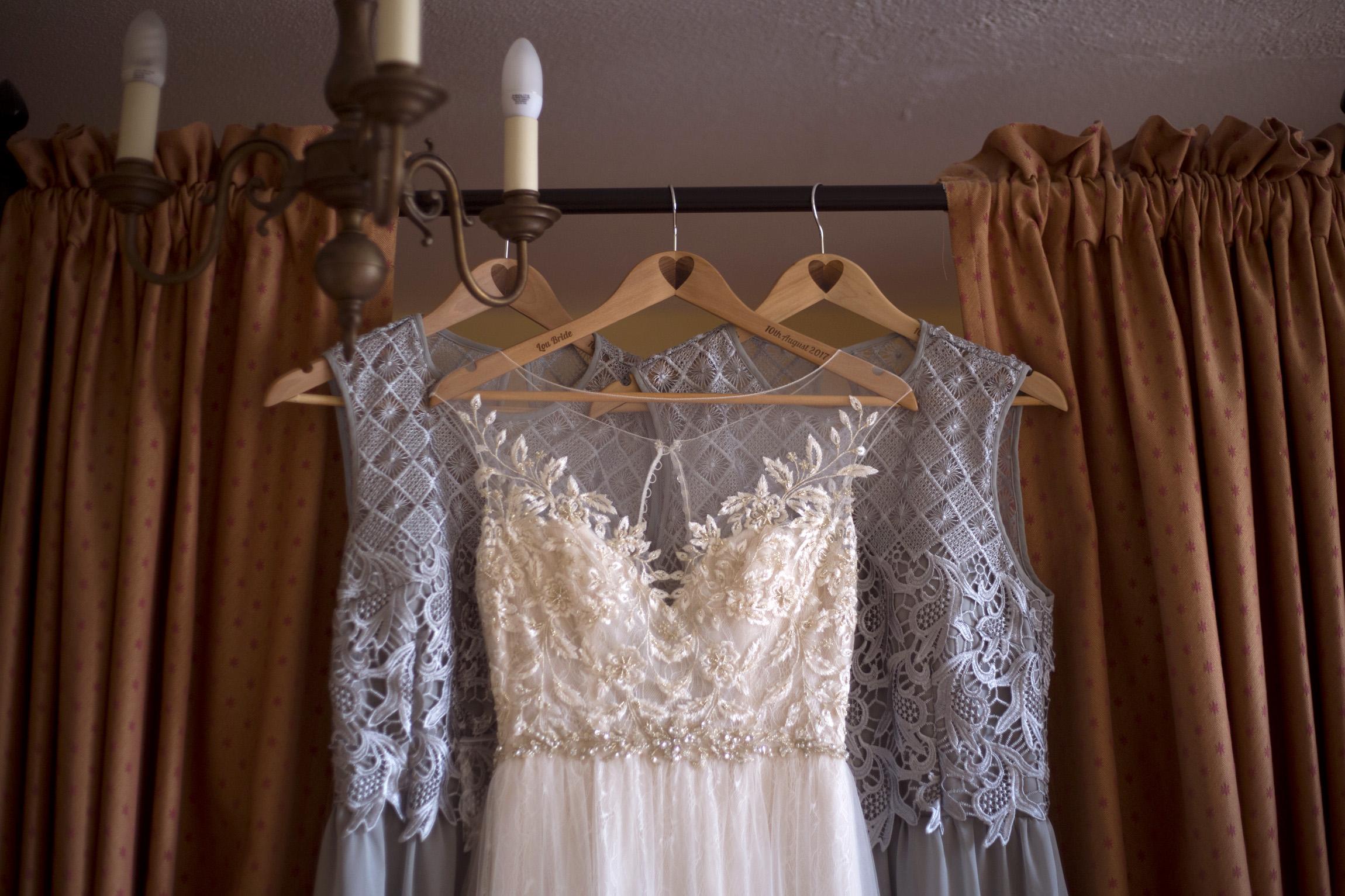 Brides dress and bridesmaids dresses Cripps barn outdoor wedding photographer