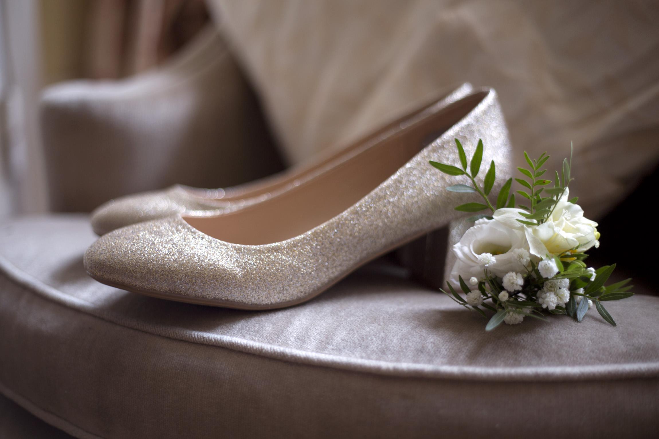 Glitter wedding shoes flowers detail Cripps barn outdoor wedding photographer