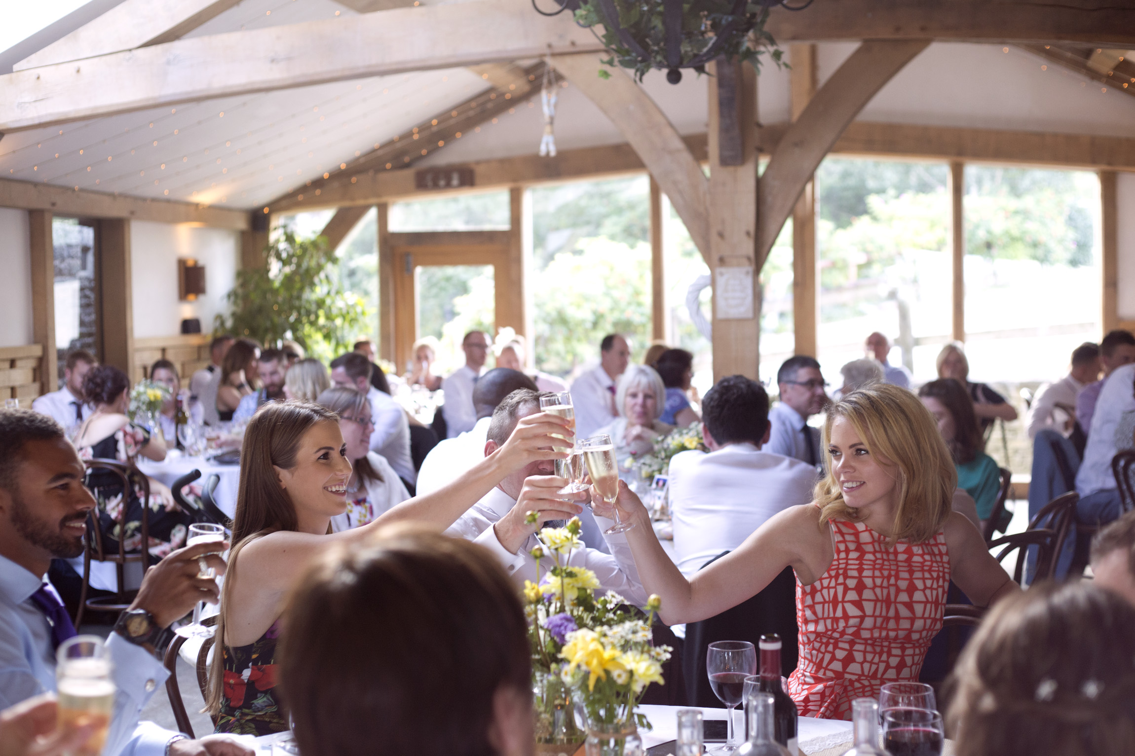Guests toast at the speeches Cripps barn outdoor wedding photographer