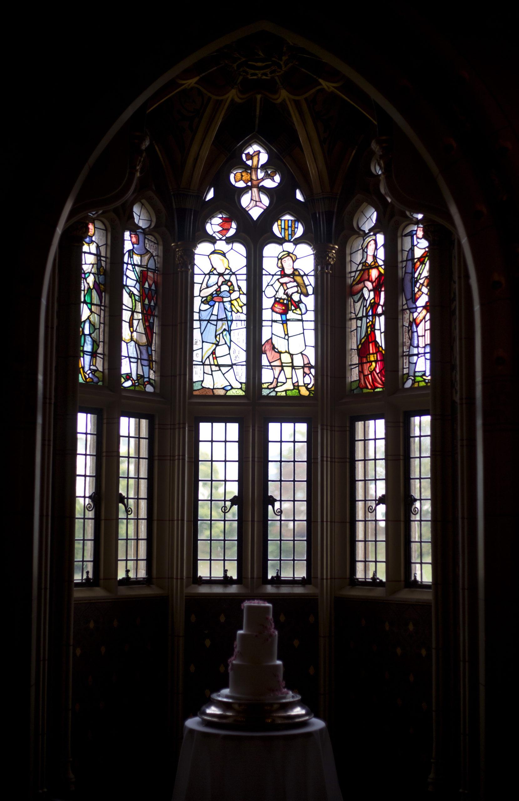 Stain glass windows Cardiff Castle Wedding Photographer St Teilos