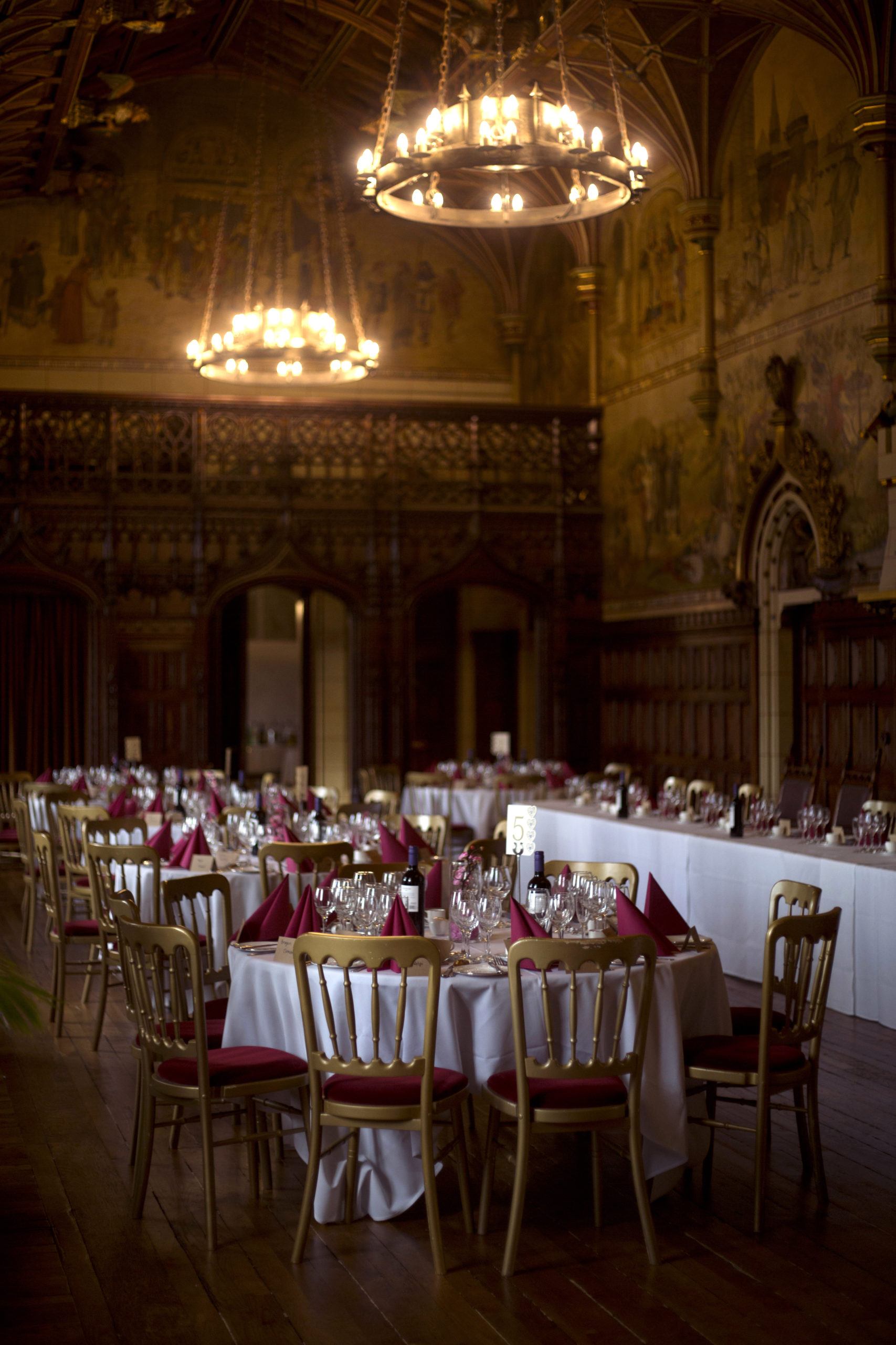 Table set up in banqueting hall Cardiff Castle Wedding Photographer St Teilos Church