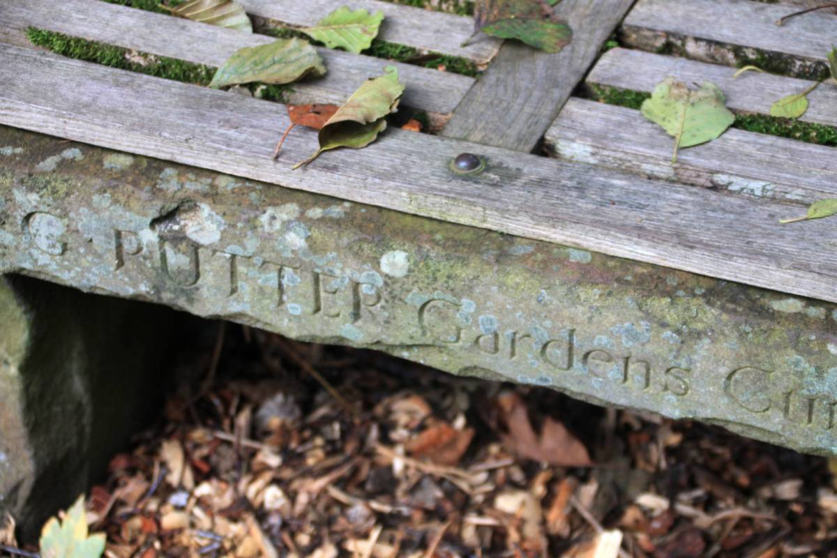 Stone bench, Woodland Walk, photograph by Carien van Boxtel, Winterbourne House and Garden, Digging for Dirt