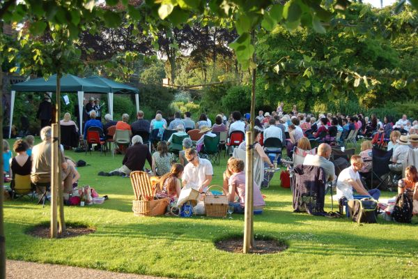 Visitors enjoying Jazz in the garden