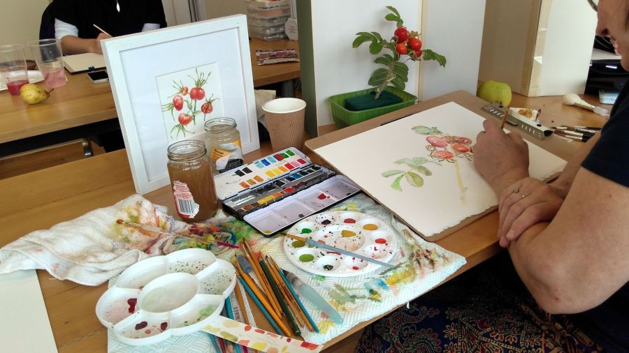 Hilary painting rose hips at Winterbourne, September 2017, Snapshot, Winterbourne House and Garden, Digging for Dirt