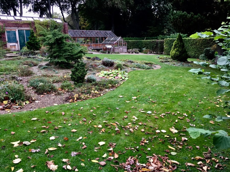 The Scree Lawn in autumn following repair, photograph by Paul Martin, career change, Winterbourne House and Garden, Digging for Dirt