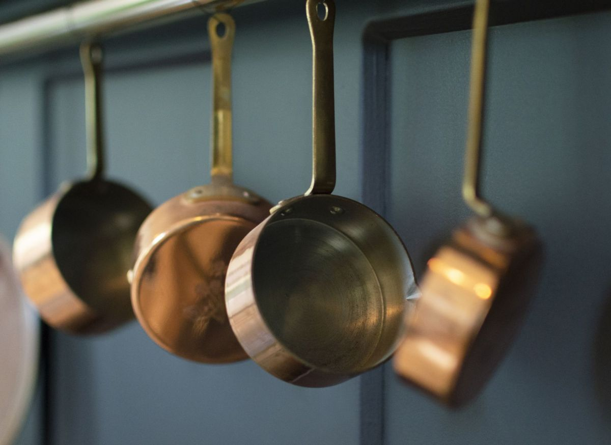Copper pans in the Old Kitchen, photograph by Victoria Beddoes, Snapshot So Victoria, Winterbourne House and Garden, Digging for Dirt