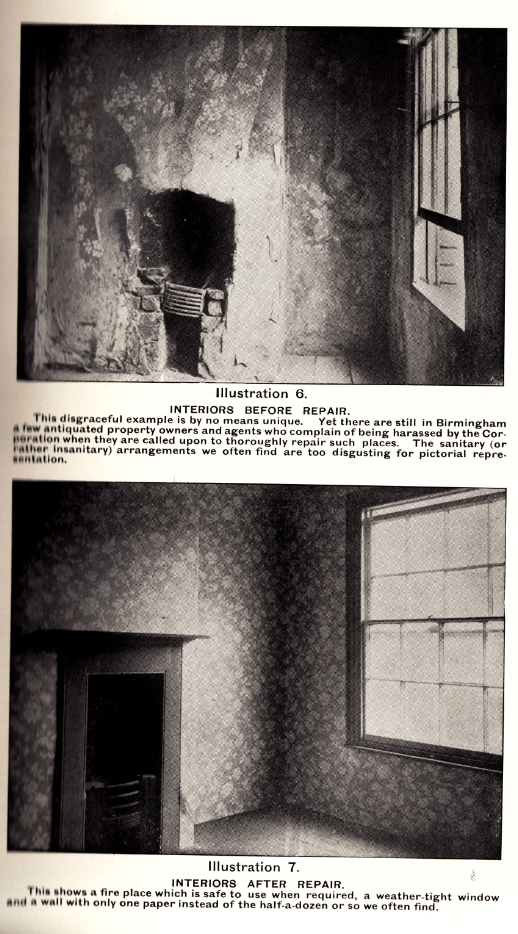 "Interior before and after repair, from ""Housing Reform"", a lecture by John Sutton Nettlefold, March 1906, News from the Archives, Digging for Dirt, Winterbourne House and Garden"