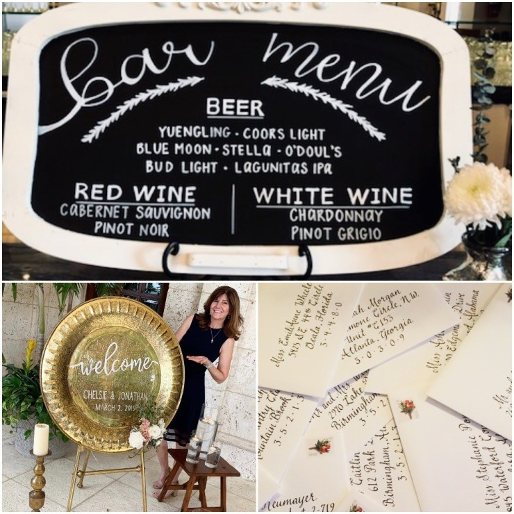 3 separate wedding signs showing a chalk board style sign, a gong sign and individual notes.
