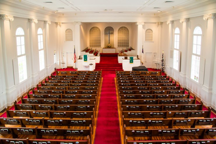 Panorama of the interior of the First Congregational Church in Winter Park