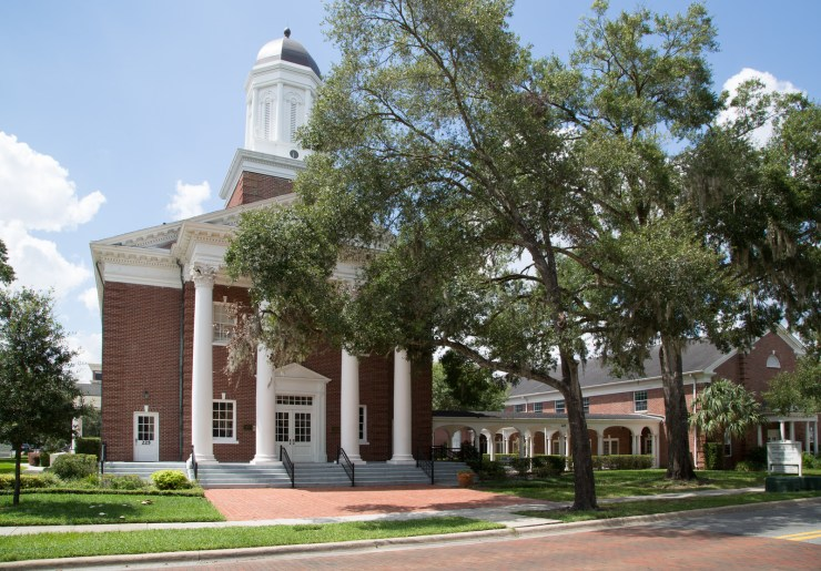 Grand Exterior of the First Congregational Church in Downtown Winter Park, Florida