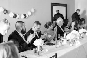Speeches at a restaurant wedding reception at Blu on Park Avenue
