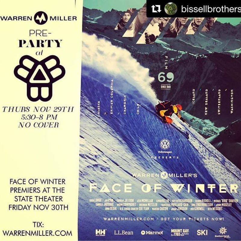 #Repost @bissellbrothers with @get_repost・・・Snow is already flying and closed trail ropes keep dropping. Next Thursday November 29th, we will be having the pre-party for @warrenmillerent newest flick (Face of Winter). 5:30-8pm , here in our taproom - we will be showing 2 vintage Warren Miller films from 1975 and 1994. This is a night designed to simply embrace the ski/board season that is upon us and get stoked with like minded, winter loving, beer drinking, outdoorsy folks. No cover $$$. A good amount of industry reps and brands will be in attendance to answer questions and hopefully throw out some free swag. Confirmed - the crew from @wintersticksnowboards will be rolling deep as well. (Note// Face of Winter will be premiering in ME on Friday November 30th at the state theatre @statetheatreportland in Portland. This evening in the taproom on the 29th is just a way to celebrate the work that Warren Miller has left with us and get folks amped for his newest). #bissellbrothers #warrenmiller