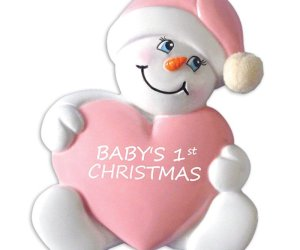 Baby's 1st Christmas Ornament Snowbaby with Heart-Girl