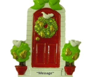 Red Door with Doves Personalized Ornament