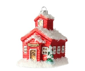 Little Red School Glass Ornament