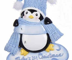 Baby's First Chirstmas Penguin Ornament- Boy