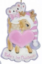 Baby's First Chirstmas Deer Ornament- Girl