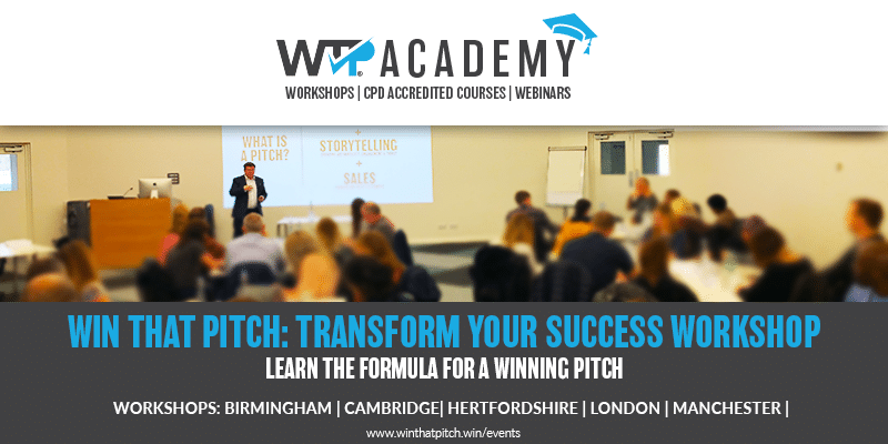 Win That Pitch Academy Workshops Banner