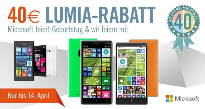 Microsoft Lumia 40 Euro Rabatt