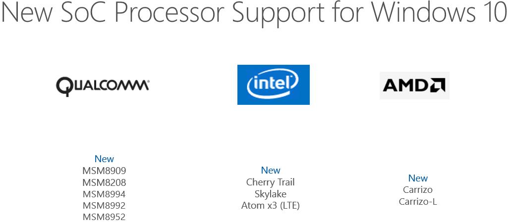 Windows 10 neue SoC Prozessoren