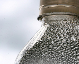 Condensation on water bottle