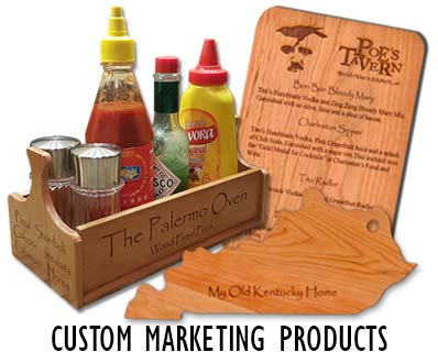 Custom Wood Engraved Marketing Products for the food and beverage industry