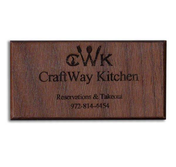 Walnut Custom Engraved Wood Business Card Refrigerator Magnets - WinWoodDesigns.com