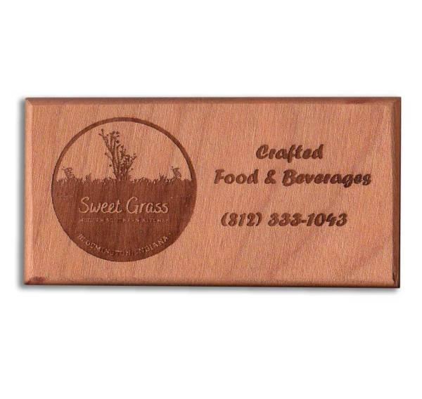 Custom Engraved Hardwood Business Card Refrigerator Magnets