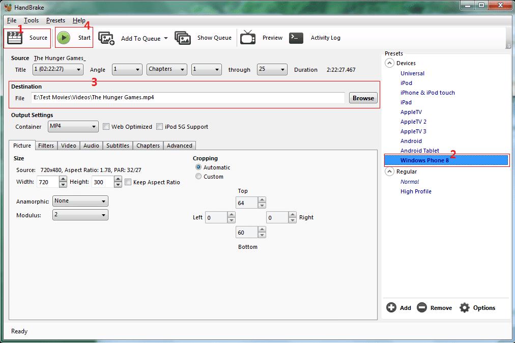 Rip DVD to WP8 with HandBrake 0.10