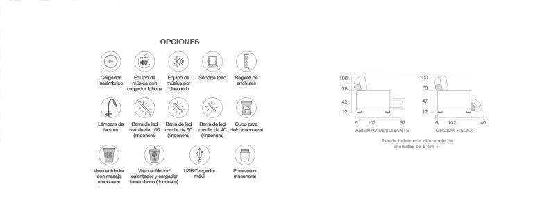 Características, opciones Sofá modelo Line