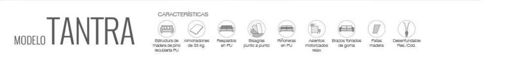 Características de sofá modelo Tantra