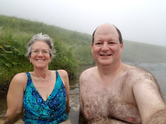 Couple in a geothermal river