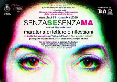 """""""SenzaSeSenzaMa"""", maratona di letture in live streaming dal Teatro De Filippo di Cecina per la giornata per l'eliminazione della violenza contro le donne"""
