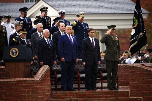 Donald Trump, Mark Milley, Mark Esper, Joseph Dunford, Mike Pence