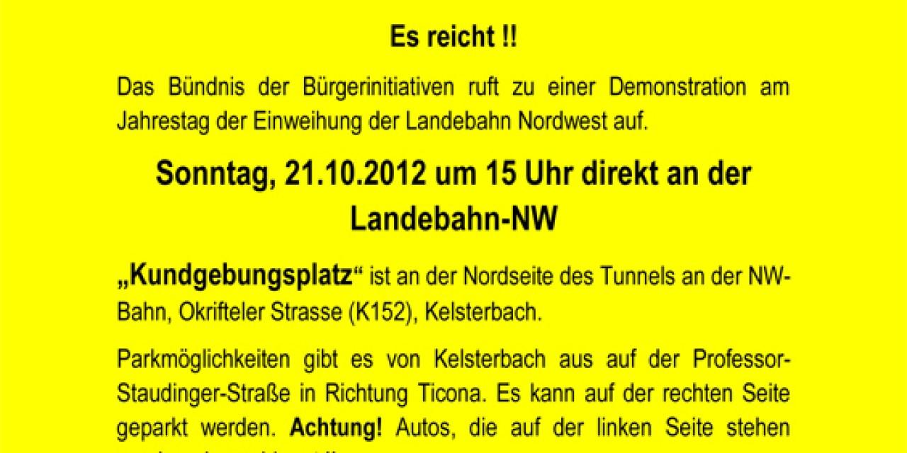 Fluglärm? Schluss – Aus – Basta! Demo zum Jahrestag der Einweihung der Landebahn Nordwest