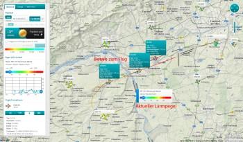 Das Live-Flugradar zeigt aktuelle Flugbewegungen und den Lärmpegel.