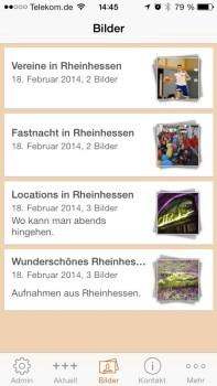 Die WIR-App zeigt auch Bilder von Wir-in-Rheinhessens Facebook-Seite an.