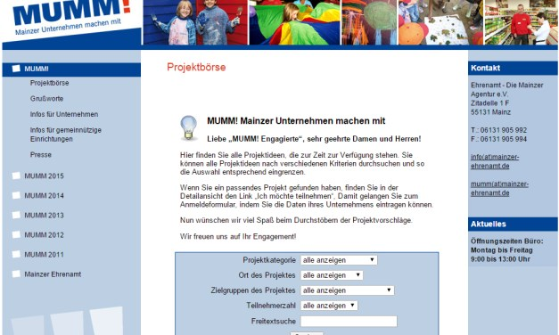 """Aktionswoche """"MUMM! – Mainzer Unternehmen machen mit""""  – 24 soziale Projekte im ersten Halbjahr 2015 erfolgreich durchgeführt"""