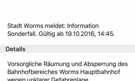 Wormser Hauptbahnhof geräumt und gesperrt
