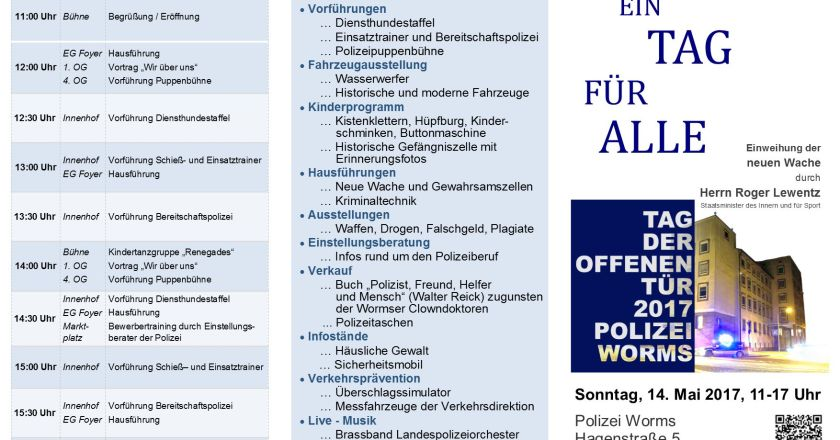 Polizeidirektion Worms läd ein zum Tag der offenen Tür