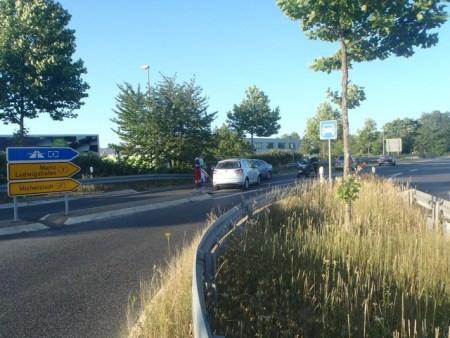 Der Unfallort auf der B9. (Foto: Polizei Worms)