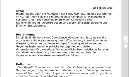 FWG Rhein-Selz und restliche Opposition fordern Compliance-Regelung für die VG Rhein-Selz und deren Verwaltung