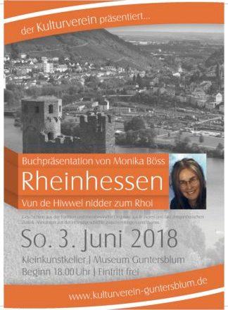 """Lesung mit Monika Bössim Guntersblumer Museumskeller """"Von de Hiwwel niwwer zum Rhoi""""."""