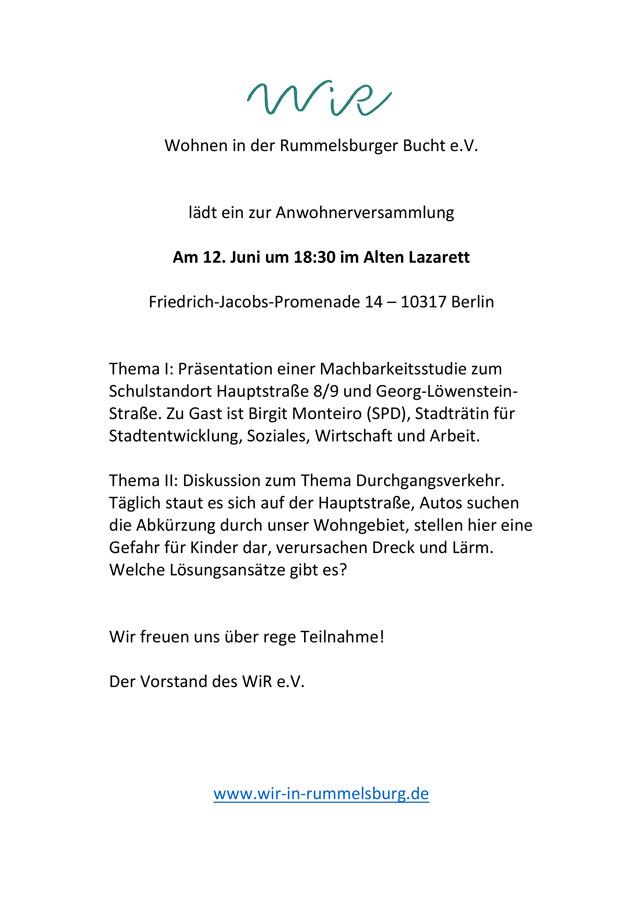 WiR – Wohnen in der Rummelsburger Bucht Nachbarschaftsverein – Anwohnerversammlung am 12.06.2018